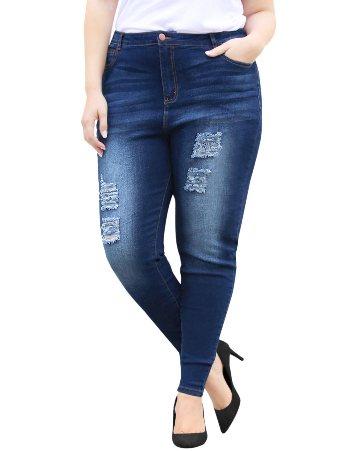 Unique Bargains Women's Plus Size Distressed Mid Rise Washed Skinny Jeans