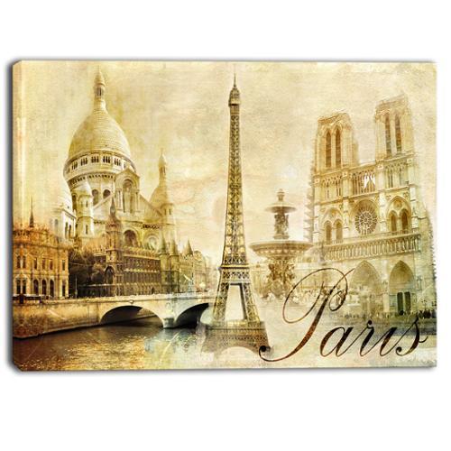 DESIGN ART Designart Old Beautiful Paris Cityscape Digital Canvas Art Print Small by Overstock