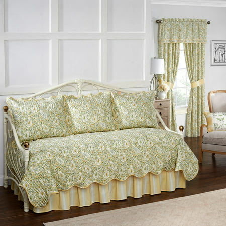 Waverly Paisley Verveine Daybed Reversible Quilt Collection (Green Bay Bed In A Bag)