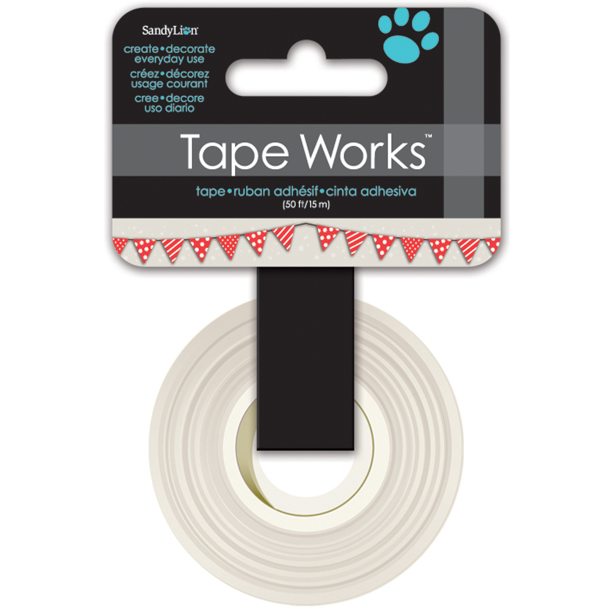 Tape Works Tape .625 Inch X 50ft-Bunting, Red