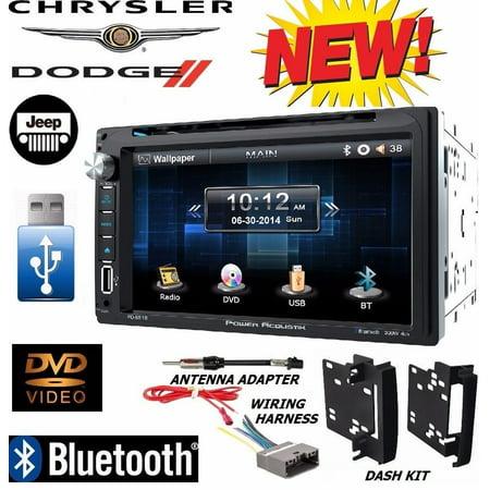 chrysler jeep dodge power acoustik bluetooth double din dvd stereo +kit / harness - walmart com