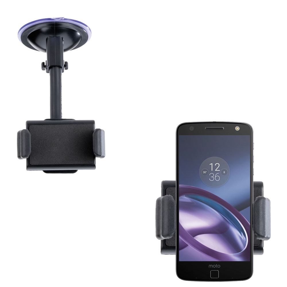 Gomadic Brand Ultra Compact Flexible Car Auto Windshield Holder Mount designed for the Motorola Moto Z Play - Gooseneck Suction Cup Style Cradle