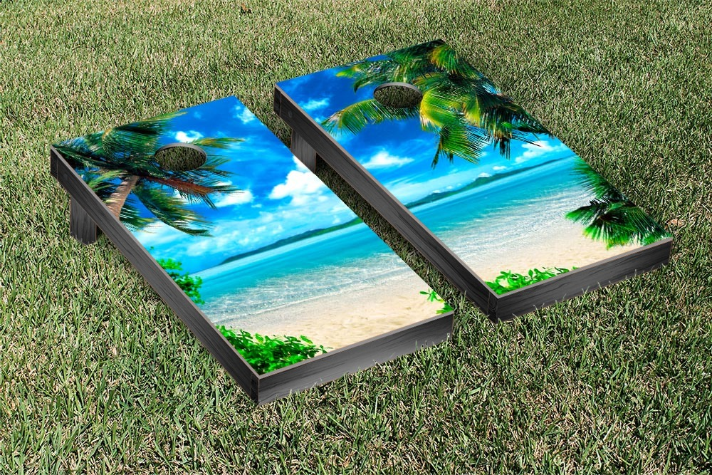 Tropical Beach Cornhole Game Set Version 2 by Victory Tailgate