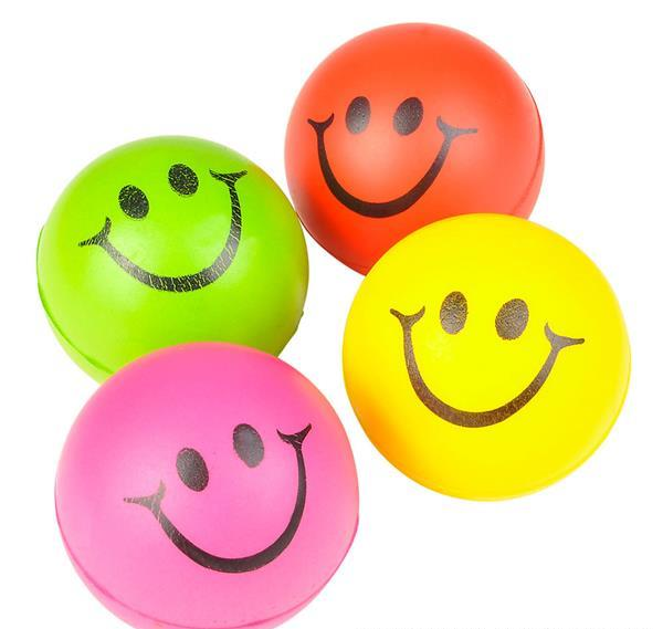 "2.5"" ASSORTED COLORS SMILEY FACE STRESS BALL, Case of 144"