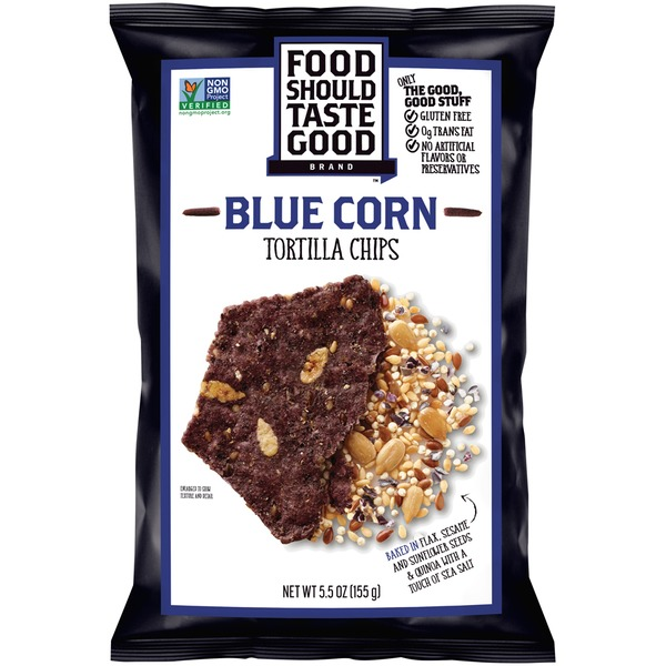Food Should Taste Good Blue Corn Tortilla Chips  Blue Corn  Case of 24  1.5 oz.