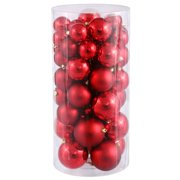Christmas at Winterland WL-ORNTUBE-60-RE 1.5-Inch Plastic Shatterproof Red Ball