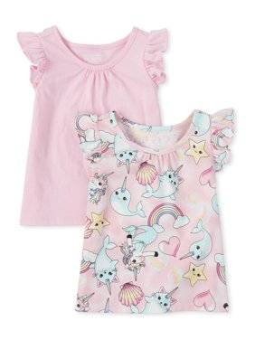 The Children's Place Baby & Toddler Girl Flutter Sleeve Tank Tops Solid & Printed, 2 Pack