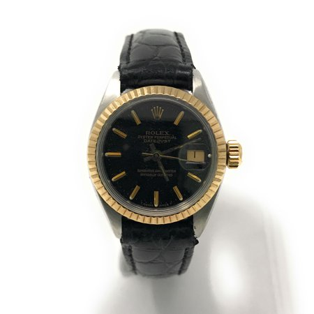 Rolex Datejust 6917 Black Stick dial and Yellow Gold Fluted Bezel (Certified Pre-Owned)