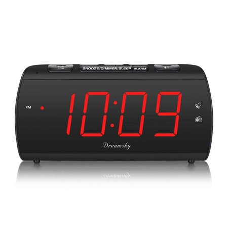 DreamSky Digital Alarm Clock Radio with USB Charging Port and FM Radios,  Earphone Jack, Large 1.8\