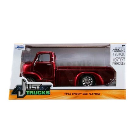 Just Trucks Series: 1952 Chevy COE Flatbed (Red with Chrome Trims) 1/24 Scale