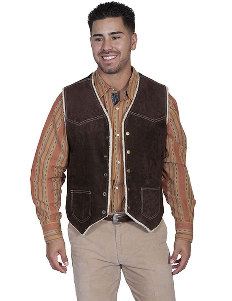 Scully Western Vest Mens Leather Button Faux Fur Pocket Bark 82-86