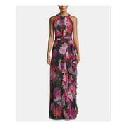 BETSY & ADAM Womens Black Floral Sleeveless Halter Full-Length Sheath Formal Dress  Size: 12