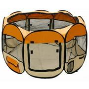 "ALEKO DK-61-OR Octagon Pet Playpen Dog Puppy Exercise Kennel Orange Color 57"" Diameter x 24"" Height"