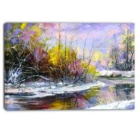 DESIGN ART Designart - Autumn River - Landscape Canvas Art Print - Blue