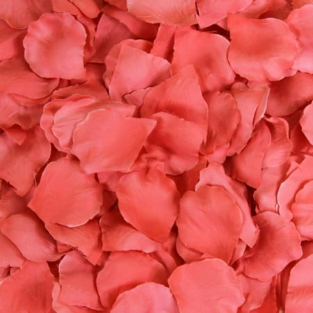 Koyal Wholesale Silk Rose Petals Confetti, Coral Bulk 1200-Pack Wedding Flowers Table Scatter, Rose Petal Aisle Runner for $<!---->