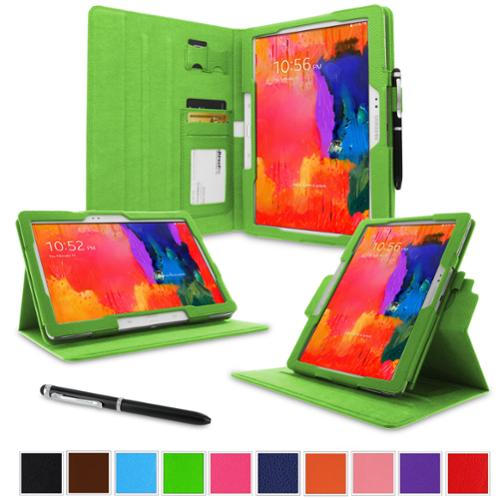 "rooCASE Samsung Galaxy Tab Pro 10.1 / Note 10.1 2014 Edition Case - Dual View Multi Angle Landscape Portrait Stand 10.1-Inch 10.1"" Tablet Case - Green"