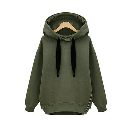 Green Womens Pullover (Army Green Long Sleeve Pullover Tops for Women / Juniors, Fashion Leisure Womens Hoodie Sweatshirt for Juniors, Black Outwear Blouse Jumper Coat for Sports, S-L)
