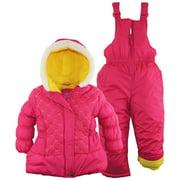 Pink Platinum Little Girls' Solid Color Block 2-Piece Snowsuit Ski Bib Pant Set