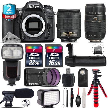 Nikon D7100 DSLR + AF-P 18-55mm VR + Tamron 70-300mm + LED + Pro Flash + 48GB