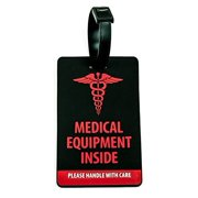 Shacke Medical Equipment Luggage Tag for Respiratory Devices (Black / Vertical)