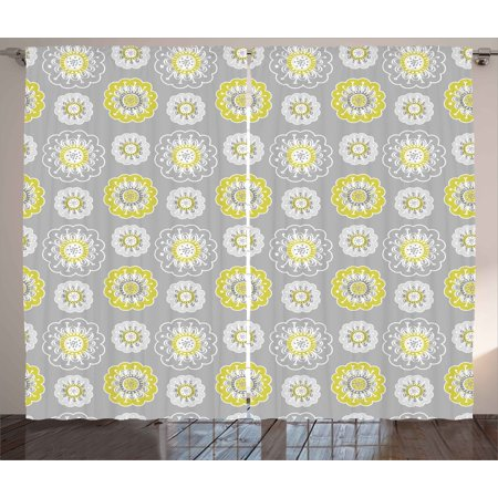 Grey And Yellow Curtains 2 Panels Set Pale Backdrop With Ethnic Inspired Flowers Ivy Image