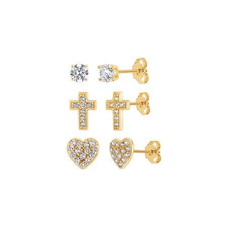 18k Gold Over Sterling Silver White Cubic Zirconia 3 Piece Heart, Cross and Stud Earrings Set (3 Piece Set Stud Earrings)