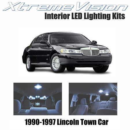 Interior Lights Lincoln Town Car (XtremeVision LED for Lincoln Town Car 1990-1997 (10 Pieces) Cool White Premium Interior LED Kit Package + Installation)