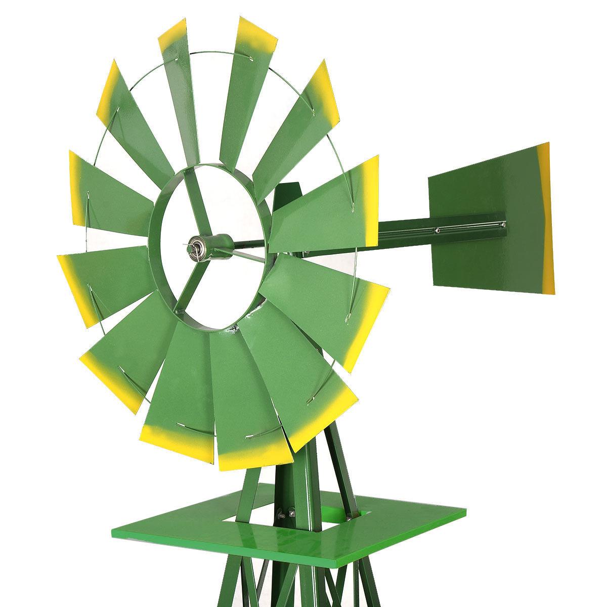 Costway 8Ft Tall Windmill Ornamental Wind Wheel Silver Green And ...