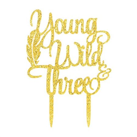 Karoo Jan Young Wild Three Cake Topper 3rd Birthday Toppers Baby Party Decorations