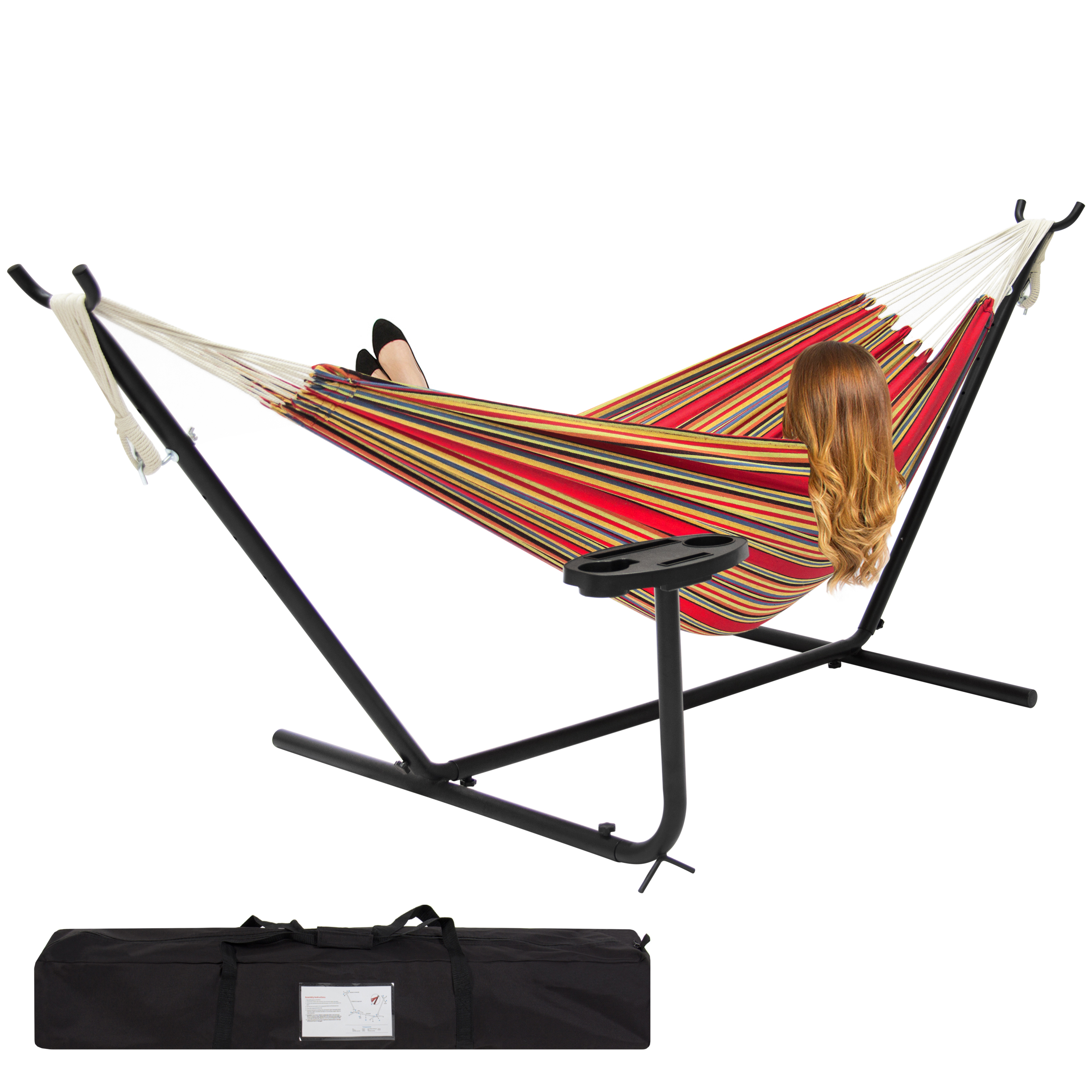 Best Choice Products Double Hammock Set w/ Accessories - Red Stripe