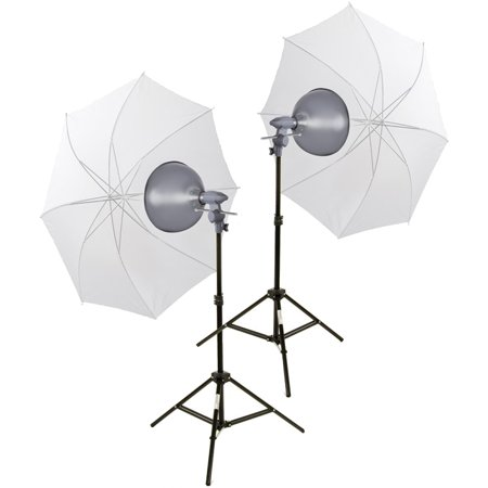 Head Studio Kit (Interfit INT160 EZ Lite Portable Studio Lighting Kit with (2) 500w Tungsten Lamp Heads, (2) Stands & (2) Translucent Umbrellas )