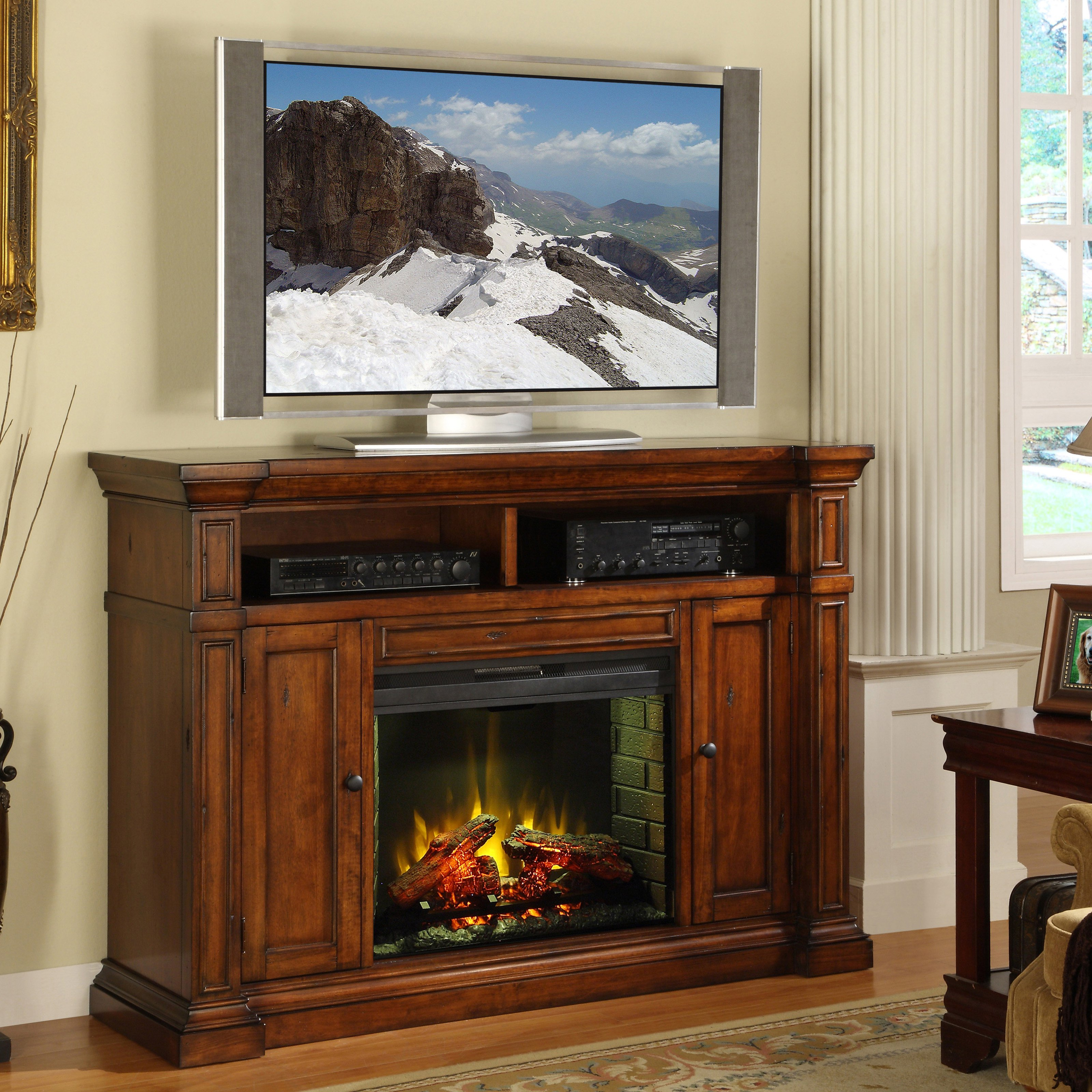 Legends Berkshire Fireplace Media center - Old World Umber