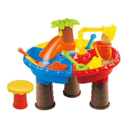 3 Tub Sand N-water Table - Table Set 22 pcs, Sand Water Beach, Palm tree Bulldozer and more!! to have fun at home or on the beach