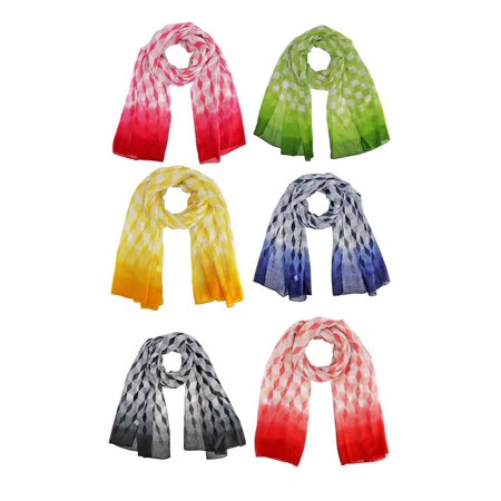 Colorful Dip Dyed Fashion Scarf 6-Pack Wholesale Lot - Wholesale Diva