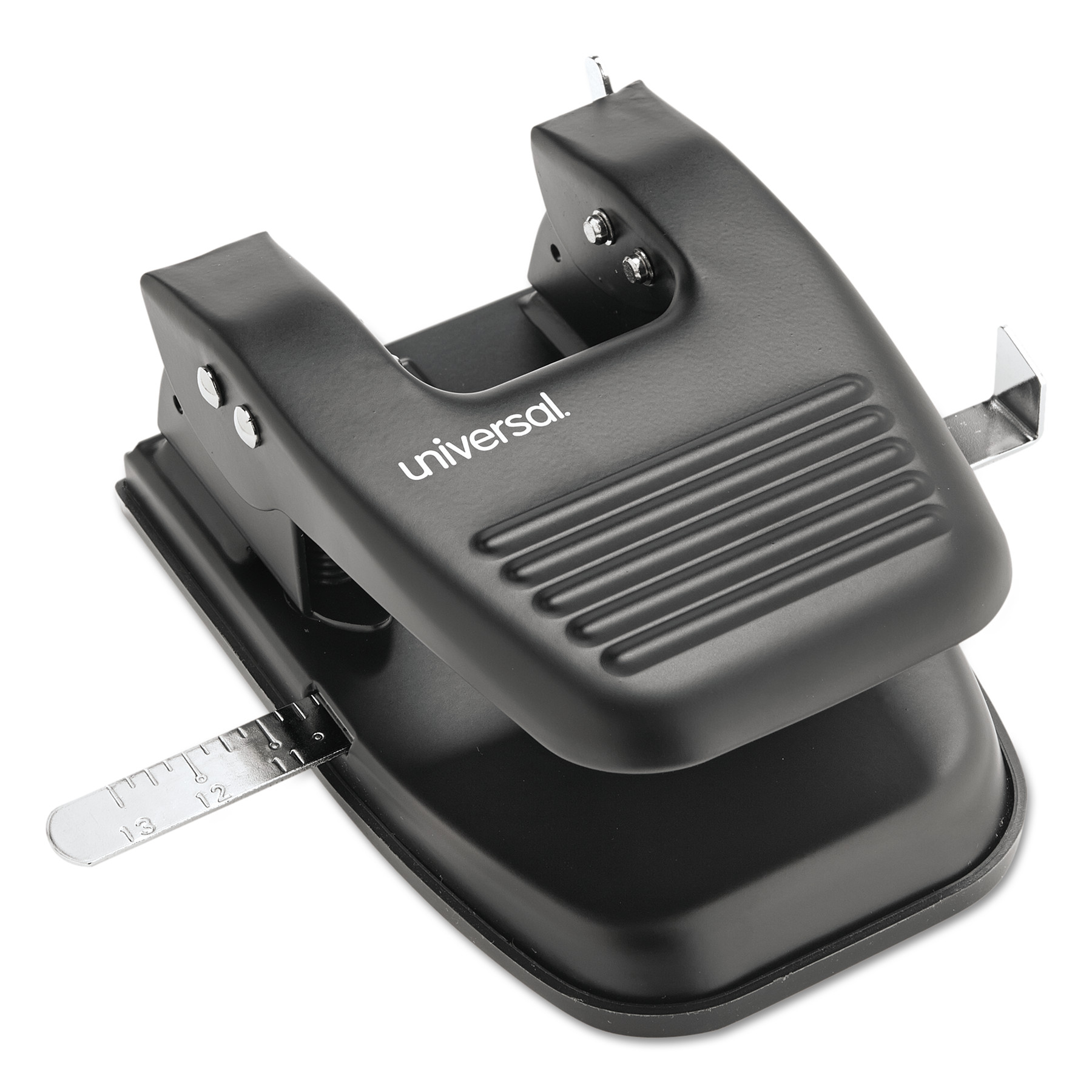 "Universal 30-Sheet Two-Hole Punch, 9/32"" Holes, Black -UNV74222"