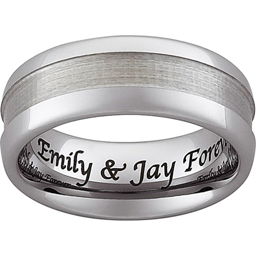 Personalized Tungsten Polished and Satin Design Band