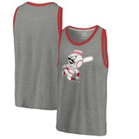 Cincinnati Reds Fanatics Branded Cooperstown Collection Huntington Tri-Blend Tank Top - Heathered Gray