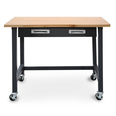 (Seville Classics UltraGraphite Commercial Heavy-Duty Wood Top Workbench with Drawer on Wheels)