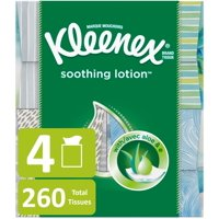 Kleenex Soothing Lotion Facial Tissues, 4 Cube Boxes, 65 Tissues per Cube (260 Tissues Total)