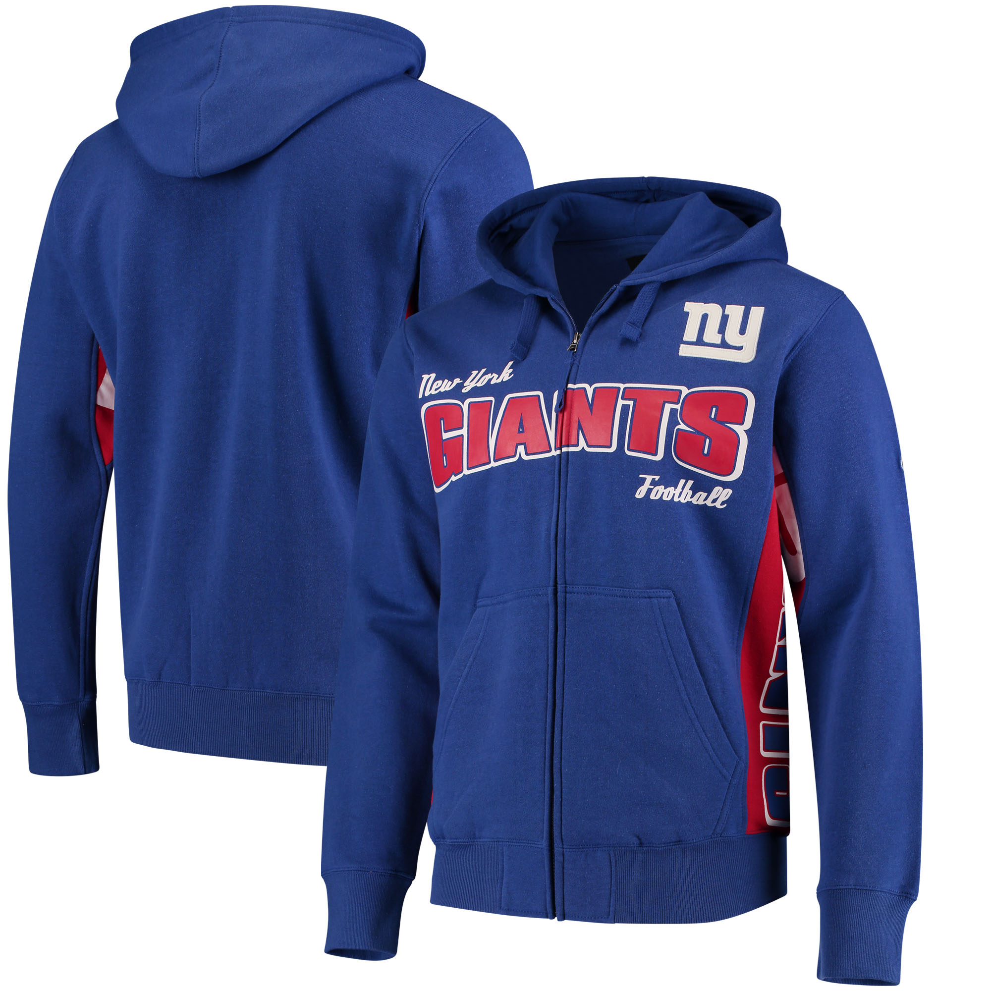 New York Giants Hands High Player Full-Zip Hoodie - Royal/Red