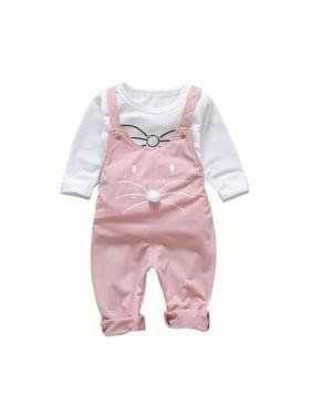 MarinaVida Toddler Girls Long Sleeve Tops+Strap Cute Cat Trousers Sets