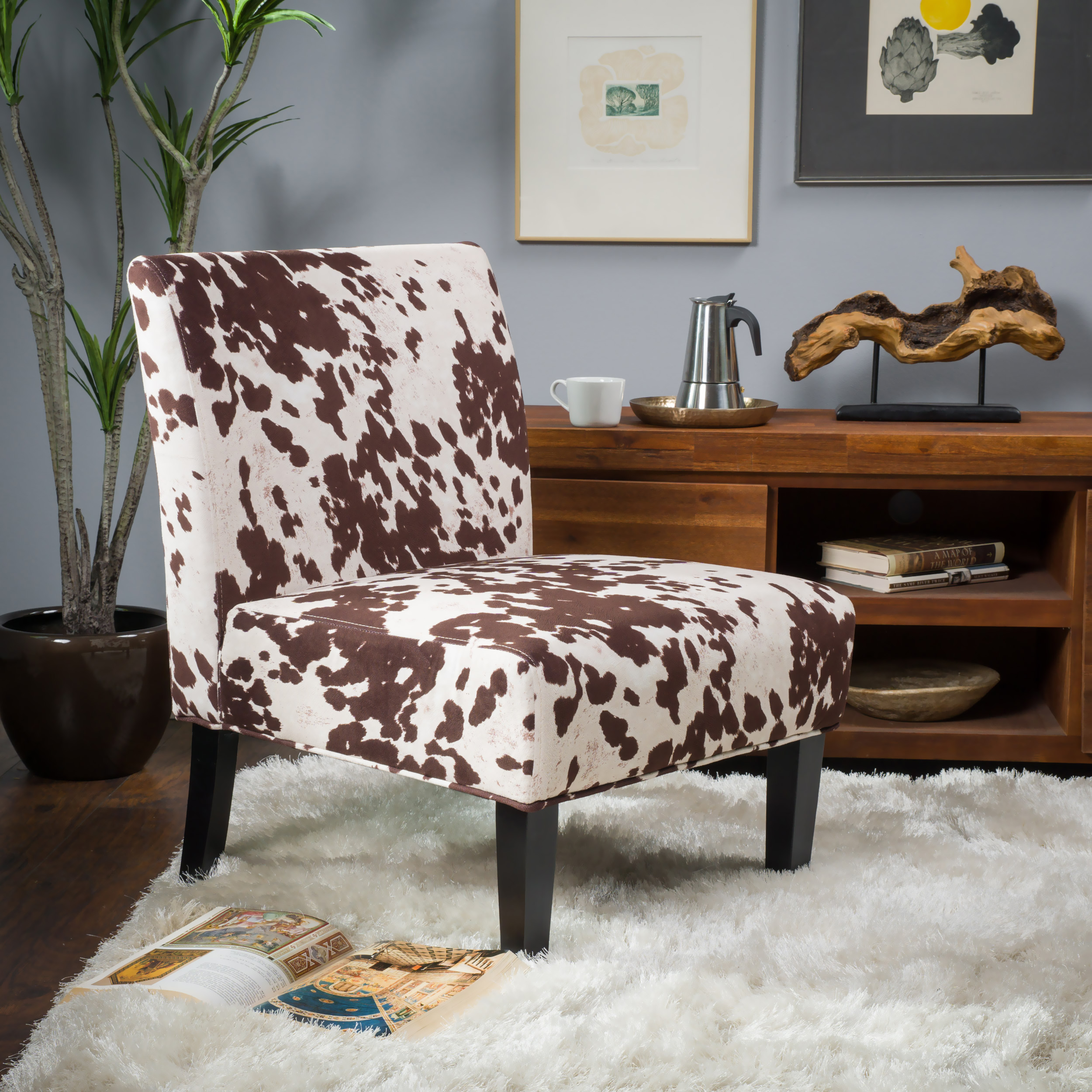Noble House Cassie Milk Cow Fabric Dining Chair