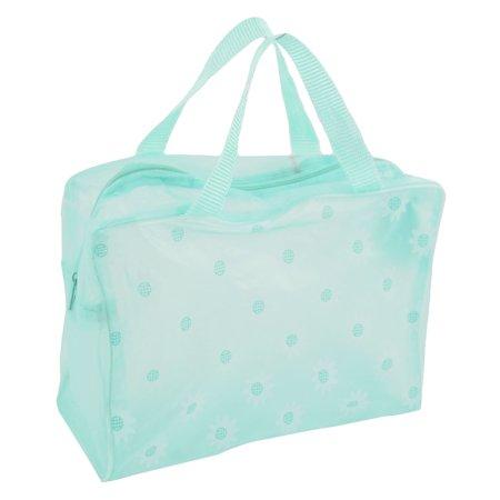 Unique Bargains Flower Pattern Portable Zippered Shower Bag Organizer for Travel Storage Bathroom Light Green Women Lady