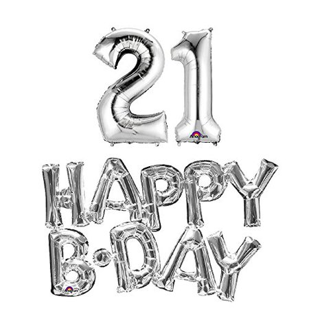 21st birthday party balloons supplies and decorations in silver](21st Party Decorations)