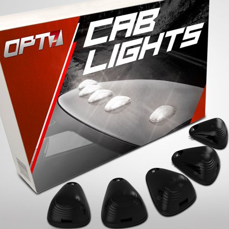 OPT7 5pc Smoked LED Cab Clearance Lights - Be Seen at Night - Water Resistant 1 Year Warranty - Roof Mount [White] Top Marker Running Lamps