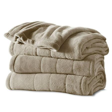 Sunbeam Heated Electric Microplush Blanket with 10 heat settings, Full, Beige