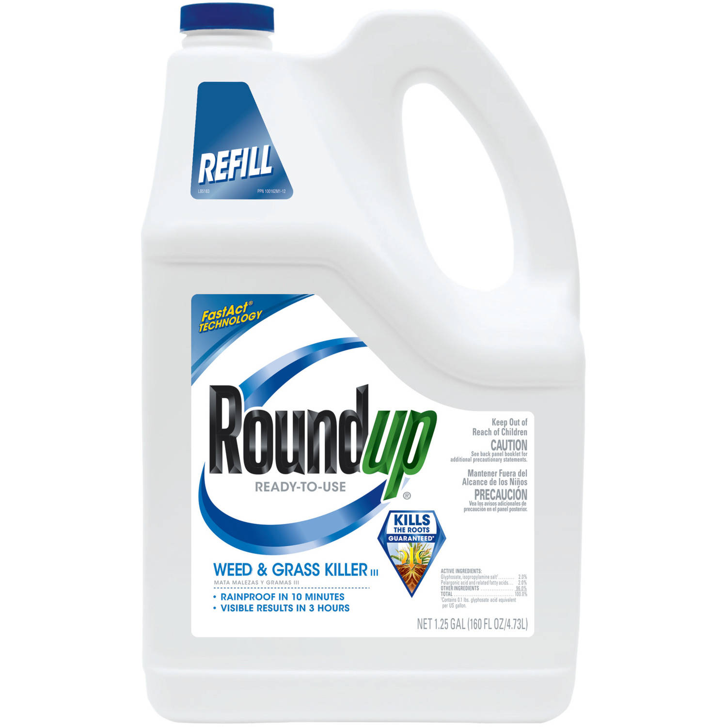 Roundup Ready-To-Use Weed & Grass Killer III Refill, 1.25 gal