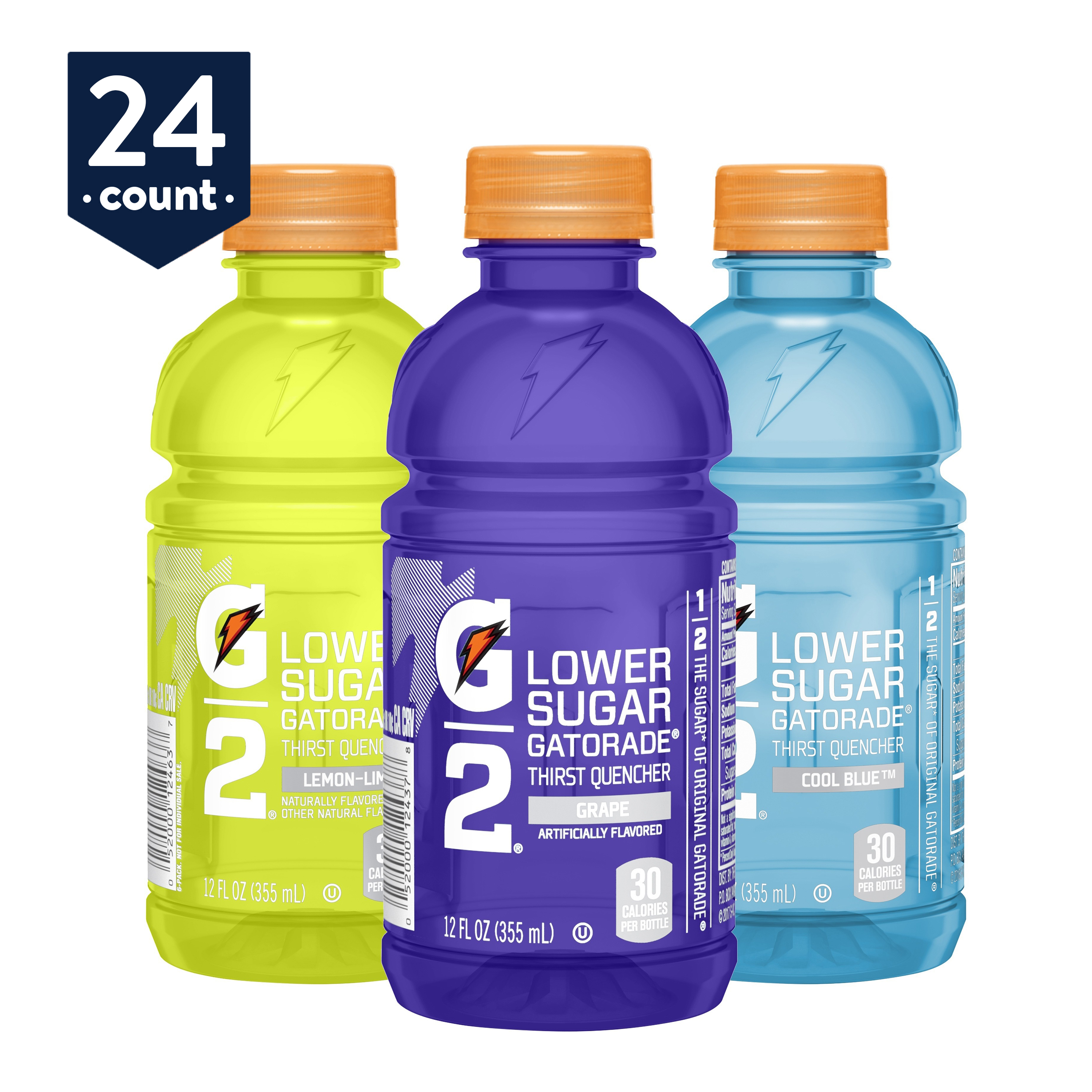 Gatorade G2 Thirst Quencher Low Calorie Sports Drink, 3 Flavor Variety Pack, 12 oz Bottles, 24 Count