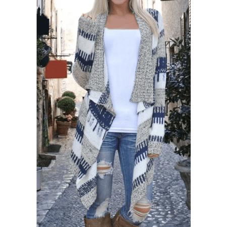 Womens Long Sleeve Open Front Knitted Sweater Cardigan Knitwear Jumper Outwear Coat Jacket Lapel Cardigan Vest Casual Fashion Fleece Outwear Top Coat Jacket