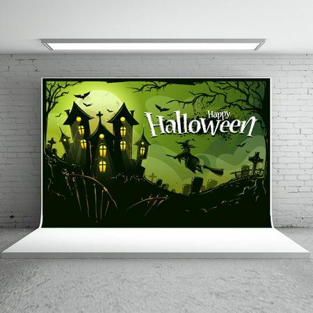 GreenDecor Polyster 7x5ft Halloween Photo Backdrops Scared Castle Witch Boneyard Bats Photo Studio Backgrounds Winkle Free Free Green Background